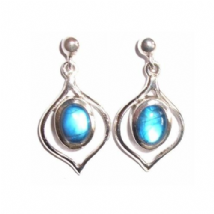 Rainbow Moonstone Earrings Silver Pointy Oval